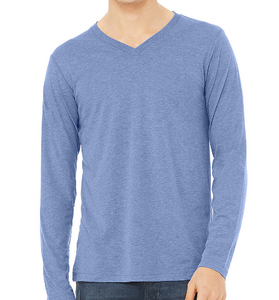 LUXE V-NECK T-SHIRT LONG SLEEVE JERSEY / MALIBU BLUE / CHARCOAL GREY / XS TO XX-L