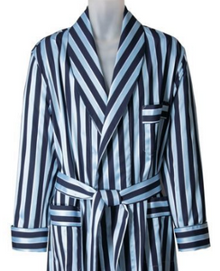ROBE SHALL COLLAR / SARTORIAL MID BLUE SUITING STRIPE / GREY SUITING STRIPE
