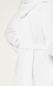 ROBE WITH HOOD / MEN / WOMEN / LUXE SOFT TERRY CLOTH / WHITE / MONOGRAMS