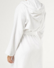 Load image into Gallery viewer, ROBE WITH HOOD / MEN / WOMEN / LUXE SOFT TERRY CLOTH / WHITE / MONOGRAMS