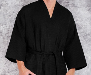 ROBE KIMONO WAFFEL WEAVE / MEN / WOMEN / LUXURY RESORT SPA / BLACK / WHITE / MONOGRAMS