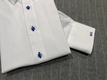 Load image into Gallery viewer, R P DESIGNS EXCLUSIVE SHIRTS / SPORT DESIGN / WHITE WITH ROYAL BLUE STITCHING