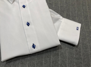 R P DESIGNS EXCLUSIVE SHIRTS / SPORT DESIGN / WHITE WITH ROYAL BLUE STITCHING