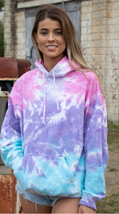 HAND TIE DYE PULLOVER HOODIE FLEECE / 8 COLORS / S TO XXX-L
