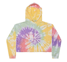 Load image into Gallery viewer, CROP HAND TIE DYE PULLOVER HOODIE FLEECE / 5 COLORS / XS TO L