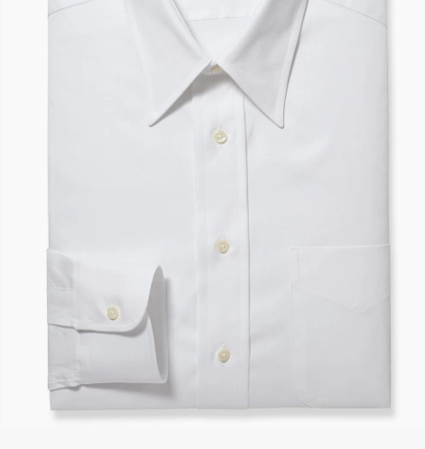 R P SHIRT / POINT COLLAR / FINE PINPOINT 80'S 2-PLY / WHITE / MONOGRAMS