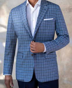 R P SPORTS JACKET / SOFT JACKET / GREY BLUE PLAID / COTTON WOOL LINEN / CONTEMPORARY FIT