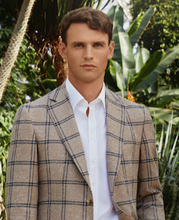 Load image into Gallery viewer, R P SPORTS JACKET / SOFT JACKET / BROWN + GREY WINDOWPANE  / WOOL + SILK / SLIM FIT