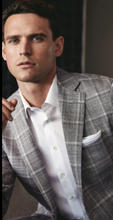 Load image into Gallery viewer, R P SPORTS JACKET / SOFT JACKET / GREY BLUE PLAID / WOOL SILK LINEN / CLASSIC FIT