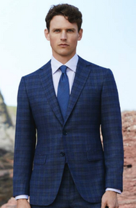 R P SUIT / NAVY BLUE WINDOWPANE / SLIM FIT