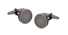 Load image into Gallery viewer, R P CUFF LINKS / GUNMETAL GREY TEXTURE ROUND DESIGN