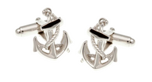 Load image into Gallery viewer, R P CUFF LINKS / SILVER ANCHOR NAUTICAL DESIGN