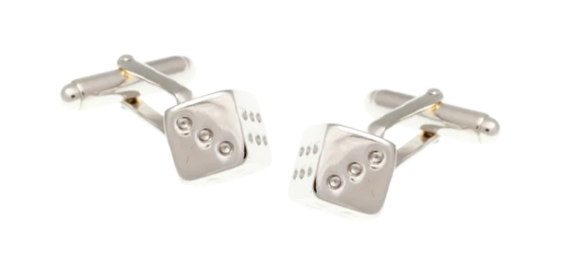 R P CUFF LINKS / SILVER CASINO SIX SIDED DICE DESIGN
