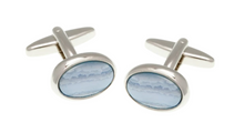 Load image into Gallery viewer, R P CUFF LINKS / SILVER / BLUE LACE AGATE OVAL DESIGN