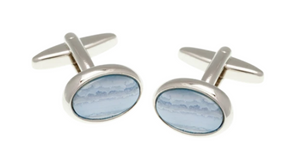 R P CUFF LINKS / SILVER / BLUE LACE AGATE OVAL DESIGN