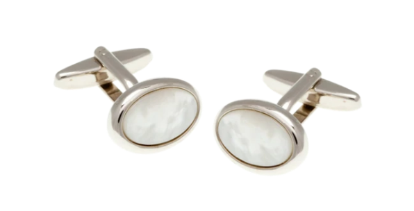 R P CUFF LINKS / SILVER / MOTHER OF PEARL OVAL DESIGN