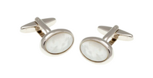 Load image into Gallery viewer, R P CUFF LINKS / SILVER / MOTHER OF PEARL OVAL DESIGN