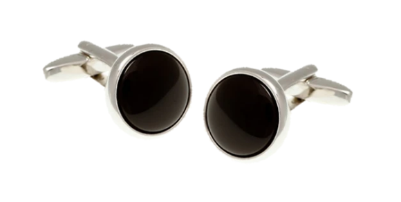 R P CUFF LINKS / SILVER / BLACK ONYX ROUND DESIGN