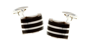 R P CUFF LINKS / SOLID STERLING SILVER / BLACK ONYX DESIGN