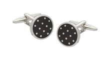 Load image into Gallery viewer, R P LINKS / SILVER / BLACK POLKA DOTS ENAMEL DESIGN