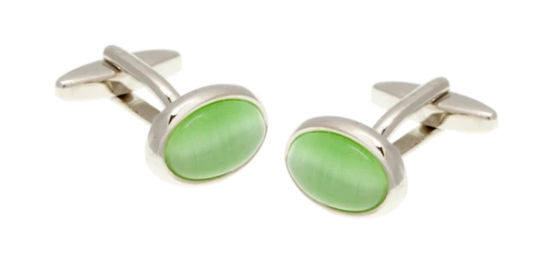 R P LINKS / SILVER / GREEN CATS EYE OVAL DESIGN