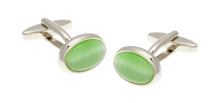Load image into Gallery viewer, R P LINKS / SILVER / GREEN CATS EYE OVAL DESIGN