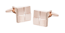 Load image into Gallery viewer, R P CUFF LINKS / ROSE GOLD SQUARES DESIGN