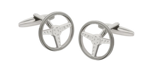 R P CUFF LINKS / SILVER AND GUNMETAL STEERING WHEEL DESIGN