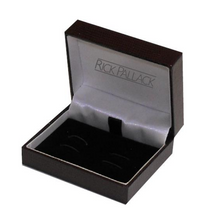 Load image into Gallery viewer, R P CUFF LINKS / SILVER OCTAGONAL / ONYX DESIGN