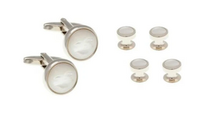 R P CUFF LINKS FORMAL 4 STUD SET / SILVER / MOTHER OF PEARL ROUND DESIGN