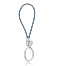 Load image into Gallery viewer, R P KEY RING / SILVER / BLUE BRAIDED LEATHER