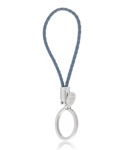 R P KEY RING / SILVER / BLUE BRAIDED LEATHER