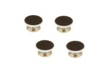 Load image into Gallery viewer, R P FORMAL 4 STUD SET / SILVER / BLACK ENAMEL ROUND DESIGN