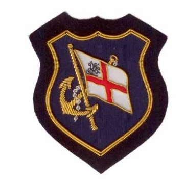 R P CREST / AUTHENTIC ENGLISH / HAND EMBROIDERED IN GOLD + SILVER BULLION