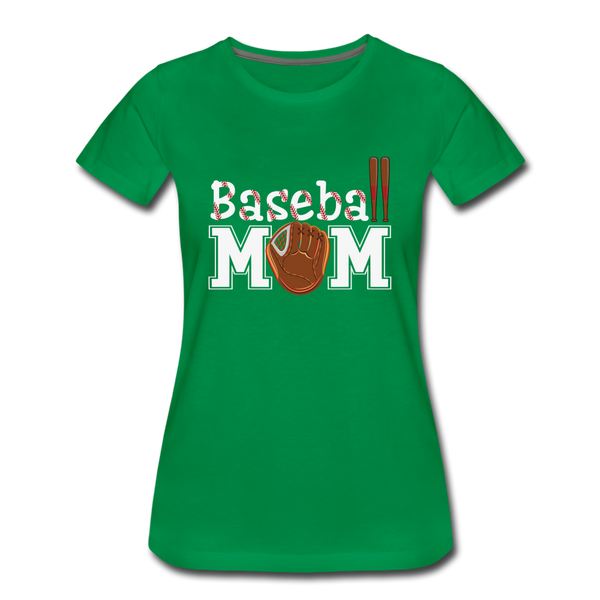 Baseball Mom Shirts, Baseball Glove and Bats Women's Premium T-Shirt - kelly green