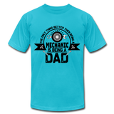 Mechanic Dad Fathers Day Shirt, Unisex Jersey T-Shirt by Bella + Canvas - turquoise