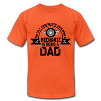 Mechanic Dad Fathers Day Shirt, Unisex Jersey T-Shirt by Bella + Canvas - orange