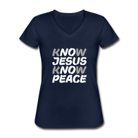 Know Jesus, Know Peace - Women's V-Neck T-Shirt - navy