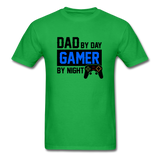 Dad by Day, Gamer by Night Video Game T-Shirt - bright green