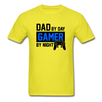 Dad by Day, Gamer by Night Video Game T-Shirt - yellow