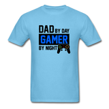 Dad by Day, Gamer by Night Video Game T-Shirt - aquatic blue