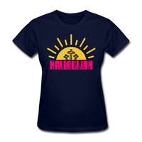 Hallelujah Christian Women's T-Shirt with Cross - navy