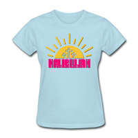 Hallelujah Christian Women's T-Shirt with Cross - powder blue