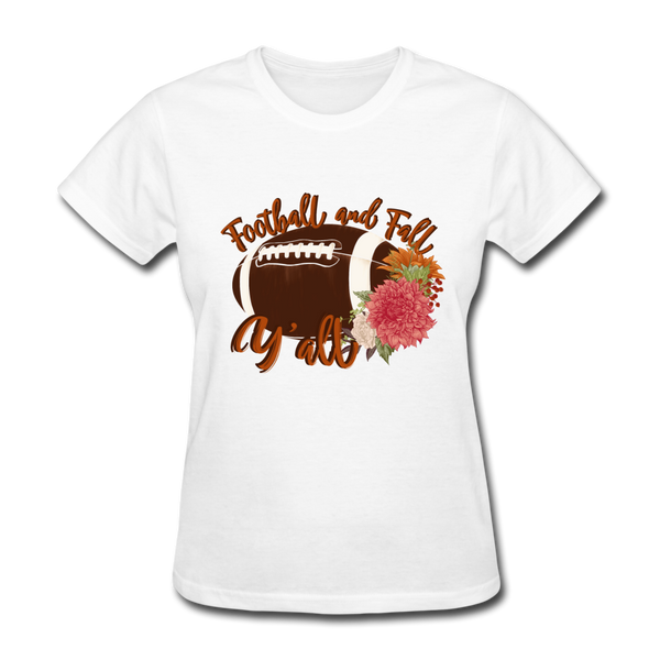 Football and Fall Y'all, Game Day, Football Fan T-Shirt - white