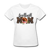 Football Mom, Leopard Print, Game Day, Floral T-Shirt - white