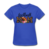Football Mom, Leopard Print, Game Day, Floral T-Shirt - royal blue