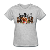 Football Mom, Leopard Print, Game Day, Floral T-Shirt - heather gray