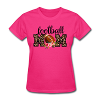 Football Mom, Leopard Print, Game Day, Floral T-Shirt - fuchsia