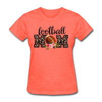 Football Mom, Leopard Print, Game Day, Floral T-Shirt - heather coral