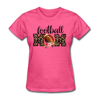Football Mom, Leopard Print, Game Day, Floral T-Shirt - heather pink